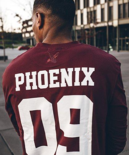 Phoenix Allstar Oversize T-Shirt Herren Longshirt mit 09 Print Longline Tee Langes Stylisches Shirt - S M L XL Burgundy - Langarm