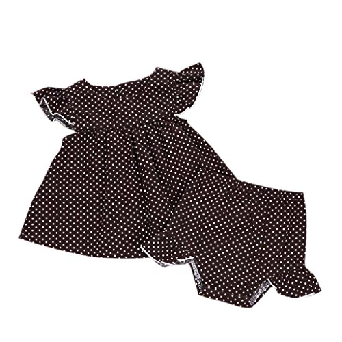 Bekleidung Longra Kleinkind Baby Mädchen Sommer Outfit Kleidung Sets Dot KurzarmT-Shirt Kleid + kurze Hose Shorts 1Set Outfits(0-24Monate) (80CM 6-12Monate, Coffee) (Detail Mantel Bow)