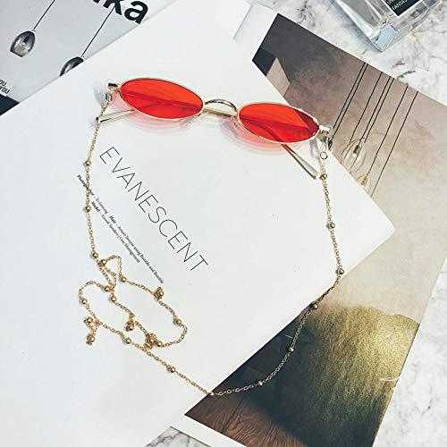 Koreanische flache runde Rahmen Brille rot mit Kette Sonnenbrille weibliche Netz rot mit kleinen Gesicht Sonnenbrille transparent rot Modell Modelle tragen Kette @ transparent rot model_Wearing eine