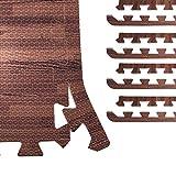 GORILLA SPORTS® 8 Schutzmatten-Endstücke Schaumstoff - 5 Farbvarianten mit 60 cm-Länge + 1,2 cm-Dicke (Holzoptik dunkel)