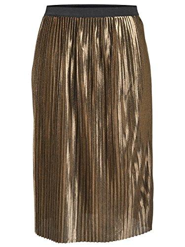 JDY Ladies Gold Elastiacted Waist Pull On Metallic Plisse Pleated Skirt