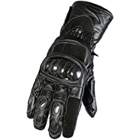 d5b922052cb02 Texpeed Waterproof All Black Leather Motorcycle/Motorbike Gloves Sizes S-2XL