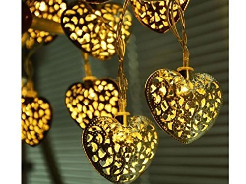 12 lanterne LED, luci da giardino, a forma di cuore in stile marocchino, solari, per festa di matrimonio o decorazioni da giardino, bella luce notturna ECO
