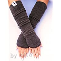 Armstulpen, lang - braun, meliert mit elastischer Borte