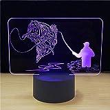 Lampe USB Port 7 Changement De Couleur 3D LED Poisson Éclairage Visuel Atmosphère Ambiance Lampe De Bureau Nouveauté Pêche Cadeau Veilleuse USB Port...