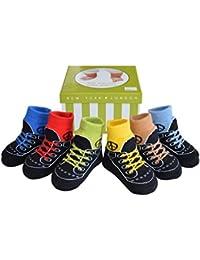 6 paires de chaussettes pour bébé garçon - coton doux/antidérapantes - coffret - 0-12 mois