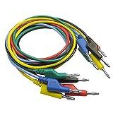 MagiDeal 5 Stück 5 Farben 4mm Multimeter Bananastecker zu Bananenstecker kabel Test Kabel prüfkabel,120cm,aus silikon