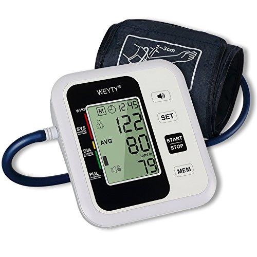 Oberarm Blutdruckmessgerät,WeyTy Automatisches Elektronisches Blutdruck Messgerät am Oberarm mit Sprachfunktion,WHO Anzeige, Arrhythmie-Erkennungfür zwei Benutzer,Standard-Manschette (22-32cm) (Druck Messgerät Elektronischen)