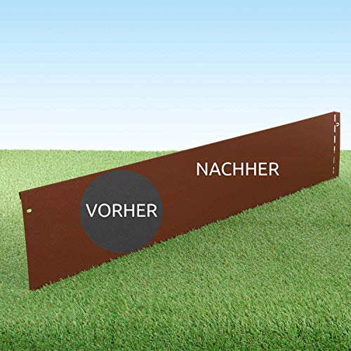 GartenAZ Rasenkante aus Corten - 7221 - Cortenstahl - 103 x 20 cm, Nutzlänge 10 m