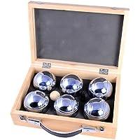 6Boules de pétanque/boules de bowling dans un coffret en bois