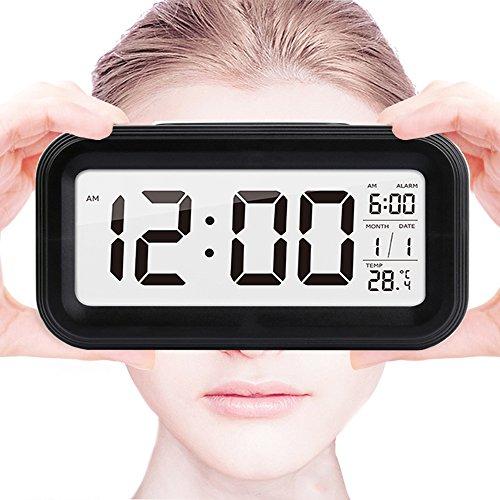 Galleria fotografica 5.3Sveglia Digitale,Shawe Clock con Grande HD Schermo,Batteria Funzionato,Impostazione Semplice,Funzione Snooze,Esposizione di temperatura,Facile per viaggi(Nero)