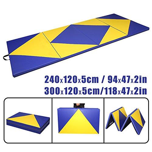 CCLIFE Tragbar Klappbar Gymnastikmatte Gelb und Blau Weichbodenmatte Yogamatte Turnmatte Klappmatte...