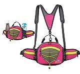 MINGMO Outdoor-Gürteltasche mit Wasserflaschenhalter Unisex Reiserucksack Multifunktions Messenger Bag Wasserdicht Sport 15L Grosse Kapazität Leicht Handytasche,Pink
