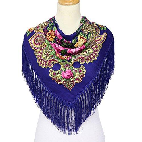 CUIGU Fashion Women Square Scarf Shawl Cotton Long Tassel Fringe Floral Print Winter
