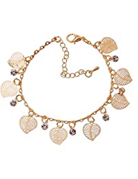 Wearyourfashion 18k Gold Plated Cubic Zircon Crystal Leaf Charm Bracelet for Women and Girls