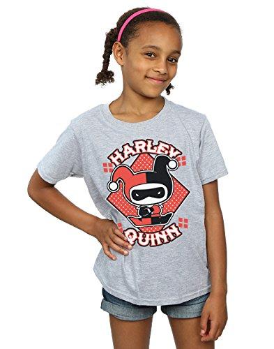 DC Comics niñas Chibi Harley Quinn Badge Camiseta 7-8 Years Gris Sport