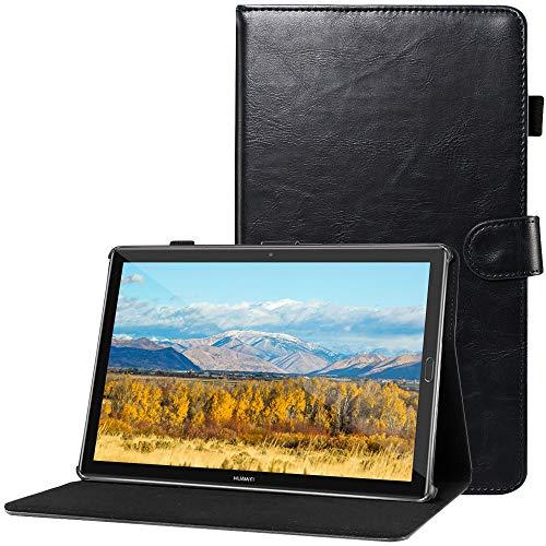 CLM-Tech kompatibel mit Huawei MediaPad M5 10.8 Zoll Tablet-PC Tasche im eleganten Kunstleder, Hülle Etui mit Stand und Kartenfächern, schwarz - Media Stand