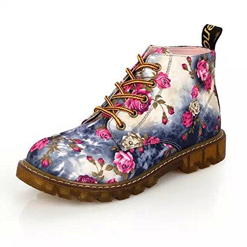 Stiefel Damen Schuhe SUNNSEAN Damenstiefel Weiche Flache Knöchel Blumendruck Martin Schuhe weibliche Schnürstiefel Mode Elegant Boots