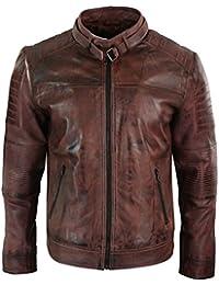 43bc47d476db ... Blousons CUIRS GUIGNARD marron Veste Motard Homme Style Biker Cuir  Véritable Noir Look Rétro Vintage Coupe Ceintrée ...