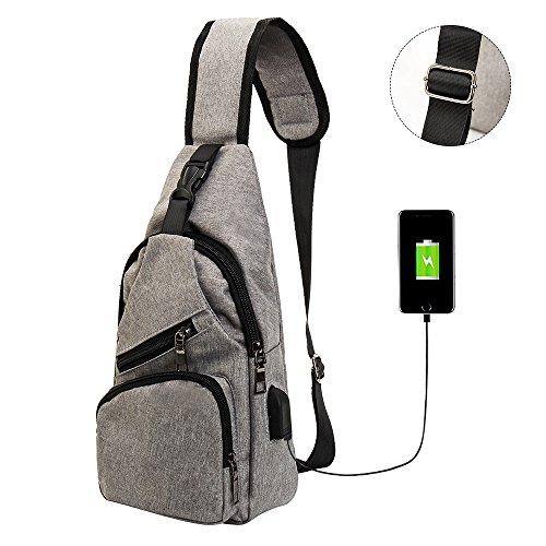 Easy_Buying - Brust Rucksack mit USB Lade-Por Taschen Umhängetaschen Schulter Dreieck packt Tagesrucksäcke für den Radsport zu Fuß Hund wander, Männer und Frauen, Grau