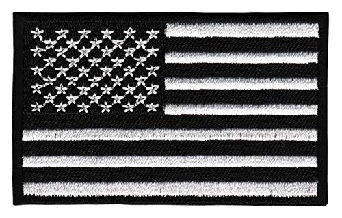 Patch USA Flagge Schwarz Weiß Vereinigte Statten von Amerika Aufnäher Bügelbild Größe 8,0 x 4,8 cm -