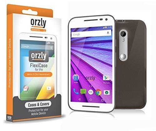Orzly® - FlexiCase für MOTOROLA MOTO G (Gen 3) SmartPhone / Handy (MOTO G 3 - 2015 Modell) - Flexible Silikon-Gel-Telefon-Kasten Schutz in Halbtransparent SCHWARZ (Moto Case G Orzly)
