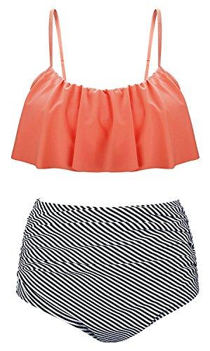 Lever Damen Bikini Set Flounce High Waist Bikini Streifen Bikinihose Gepolstert Push up Bikini Bandeau Orange 36 S (- Orange-streifen Leichte)