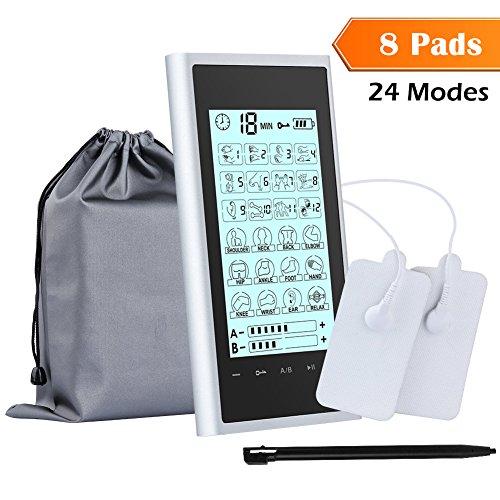 24 Modes 8 Almohadillas EMS TENS Electroestimulador Masaje Digital, Pantalla Táctil, A/B Canales, con Bolsa de Almacenamiento para Espalda/Cuello/Brazos/Piernas/Abdominales Alivio del Dolor Ciático