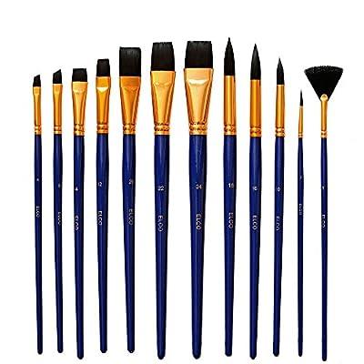 12 Künstlerpinsel Rundpinsel Fächerpinsel Flach Pinsel Schrägzieher - Acrylpinsel- Aquarellpinsel - für Acrylfarben oder Aquarellfarben - Künstlerpinsel Set von Elco bei TapetenShop