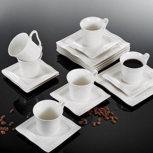 MALACASA, Serie Mario, 36 TLG. Set Cremeweiß Porzellan Kaffeeservice Geschirrset 12 Stück...