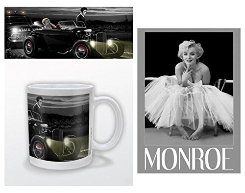 Set: Helen Flint, Marilyn Monroe, Elvis Presley, Spaßfahrt Foto-Tasse Kaffeetasse (9x8 cm) Inklusive 1 Marilyn Monroe Postkarte (15x10 cm) -