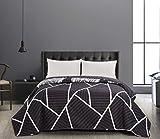DecoKing 40966 Tagesdecke 200x220 cm Graphit weiß Bettüberwurf zweiseitig Steppung pflegeleicht geometrisches Muster grau Stahl anthrazit Home