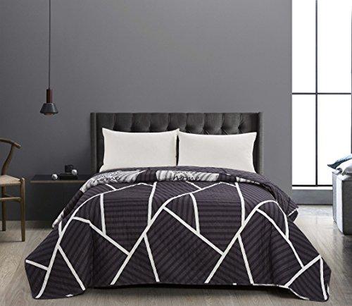 DecoKing 40973 Tagesdecke Graphit Weiß Bettüberwurf zweiseitig Steppung Pflegeleicht Geometrisches Muster Grau Stahl Anthrazit White Grey dimgray Steel Anthracite Graphite Home