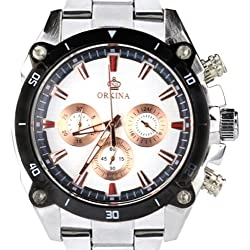 Orkina Silver Case Chrono Dial Stainless Steel Strap Wrist Watch PO015-SSW