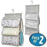 mDesign 2er-Set Baby Organizer – Kleiderschrank Organizer mit fünf Fächern – Stoff Hängeaufbewahrung für Decken, Babysachen oder Handtücher – taupe/natur