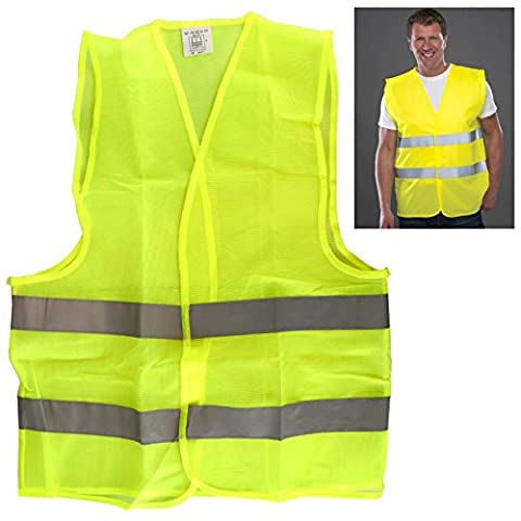 Yellow Hi Vis High Viz Visibility Vest Waistcoat 2 Reflective Stripes Cycle Road Walk Motorist Warehouse Safety - Medium