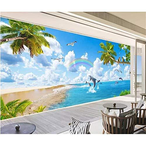 Guyuell Benutzerdefinierte 3D Foto Tapete Zimmer Wandbild Malediven Hawaii Delphin Landschaft 3D Malerei Tapete Wandbild Sofa Tv Hintergrund 3D Tapete-300Cmx210Cm (Hawaii-fall Schwarzes)