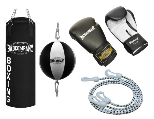 Profi Box-Set inkl. Canvas Boxsack 80 x 30cm ungefüllt, Heavy Duty Vierpunkt-Stahlkette, Doppelendball, PU Boxhandschuhe Klassik