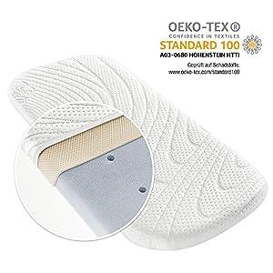 ALVI Pram & Moses Basket Mattress with Dry Effect - TENCEL® 3-Layer Point Elastic Cold Foam Mattress | Breathable | Hypoallergenic | Oeko-Tex Certified - 75 x 33cm