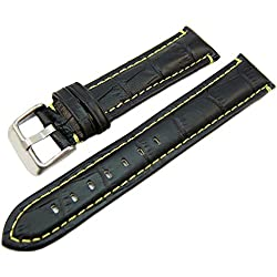 Black Genuine Leather Alligator Grain Watch Strap Yellow Stitching 22mm