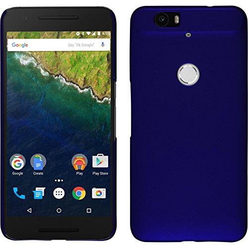 PhoneNatic Case kompatibel mit Google Nexus 6P - Hülle blau gummiert Hard-case + 2 Schutzfolien