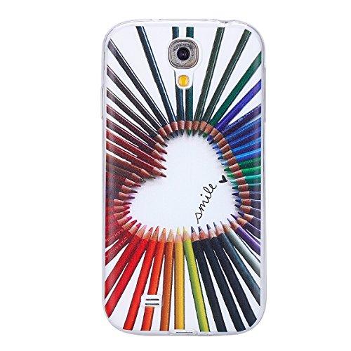 Galaxy S4 Soft Silicone Tpu Coque Mode,Transparent Coque pour Samsung Galaxy S4,Ekakashop Ultra Mince Jolie Balle Violet Design Souple imprimée Etui Housse de protection Cristal Clair Gel Case Premium Crayons Amour
