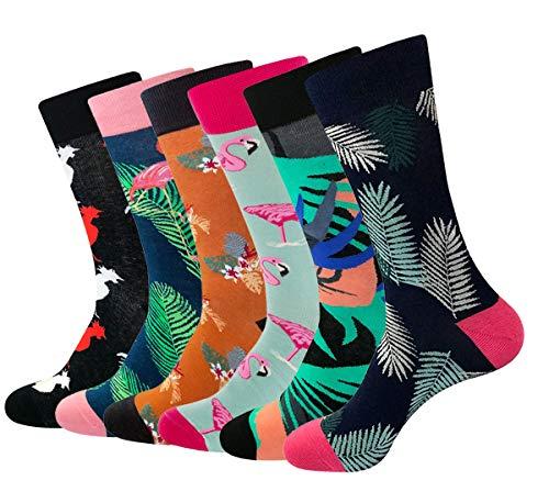 RedMaple 6 Paar Herren Bunt Gemusterte Socken - Gekämmte Baumwolle Neuheit Sneaker Crew Socken Größe 39-46 - Herren Leichtes Kleid Socken