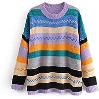 zxc Suéter Lady Stripe Sweater, Color Suelto,Violeta,Código Uniforme