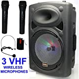 "Mak 12"" Bluetooth Portable PA Active Speaker Karaoke System 2 Wireless Microphone Rechargeable"