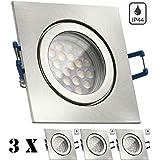 Juego de lámparas LED de techo IP44, 3 unidades, GU10