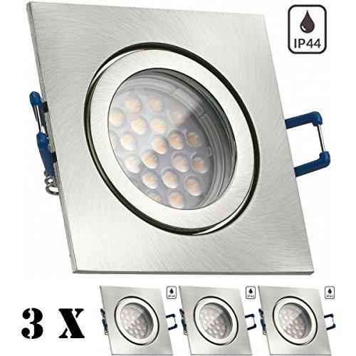 3er IP44 LED Einbaustrahler Set Silber gebürstet mit LED GU10 Markenstrahler von LEDANDO – 5W – warmweiss – 60° Abstrahlwinkel – Feuchtraum / Badezimmer – 50W Ersatz – A+ – LED Spot 5 Watt – Einbauleuchte eckig