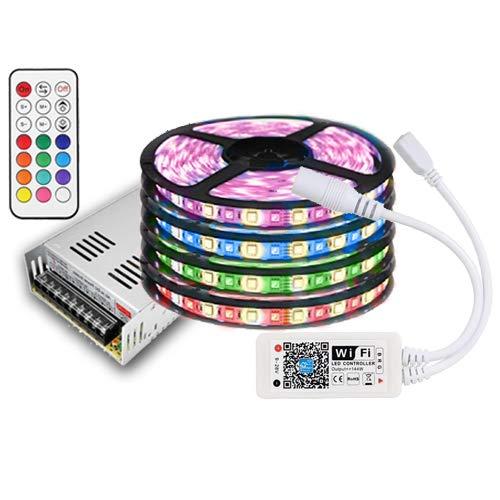20m impermeable IP65RGBW (RGB + Blanco Cálido) tira LED con 1200ledes (SMD 5050) + WiFi wificon Troll con Amazon Alexa/Smartphone + 12V 21a 250W fuente de alimentación para casa & Jardín Exterior Decorative