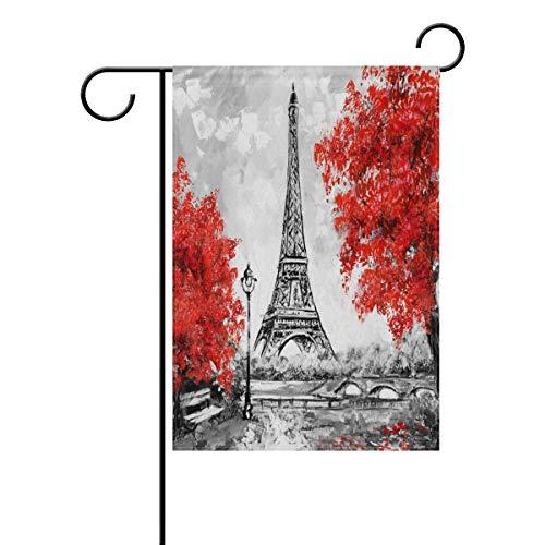 en Flag Paris European City Vintage France Eiffel Tower House Banner for Wedding Party Outside Garden Yard Double Side Print(Size: 28inch W X 40inch H) ()