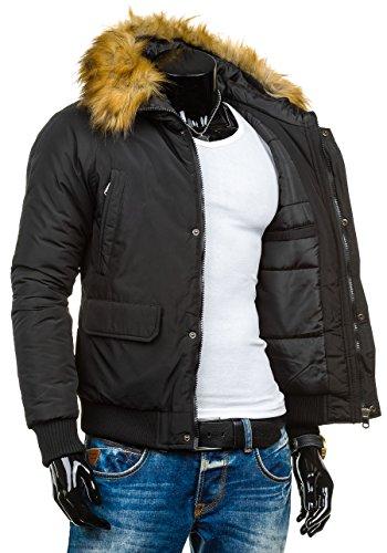 BOLF – Veste á capuche – Fermeture éclair – J.STYLE 506 – Homme Noir